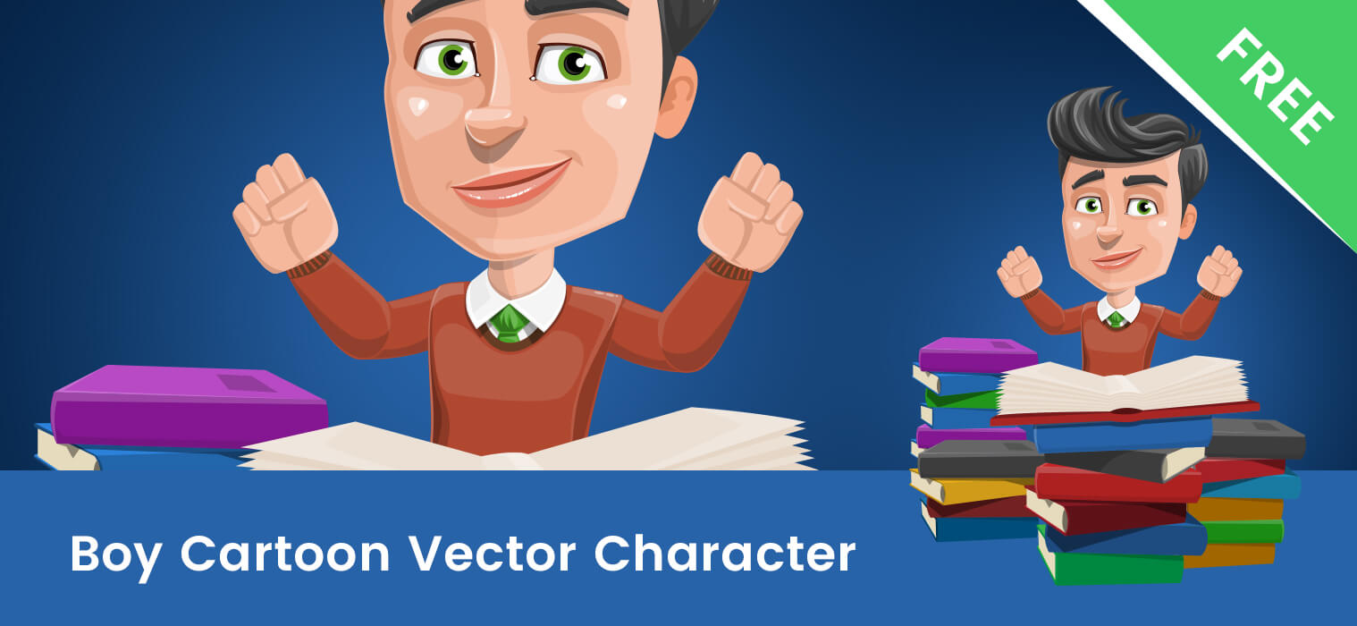 Smart Cartoon Boy Vector