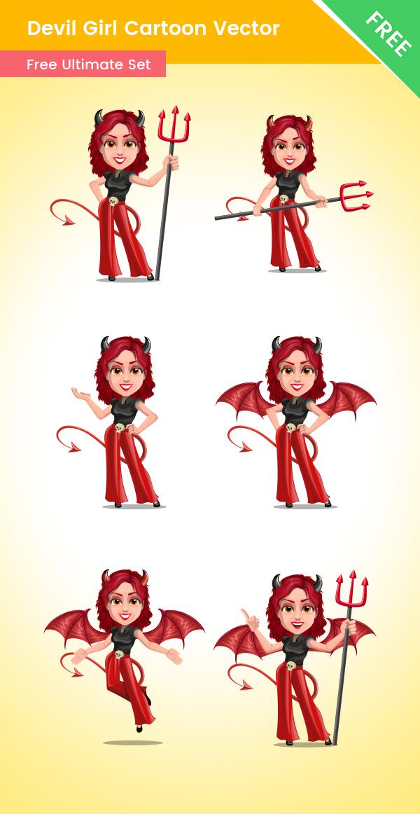 Devil Girl Cartoon Vector Set