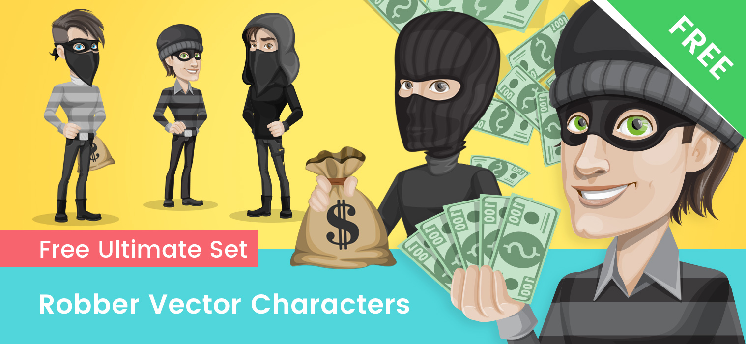 Robber Cartoon Vector Set
