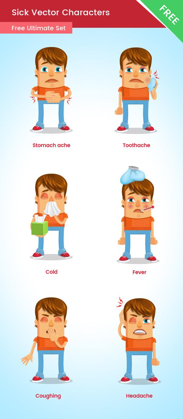 Sick Vector Cartoon Character Free Set 1