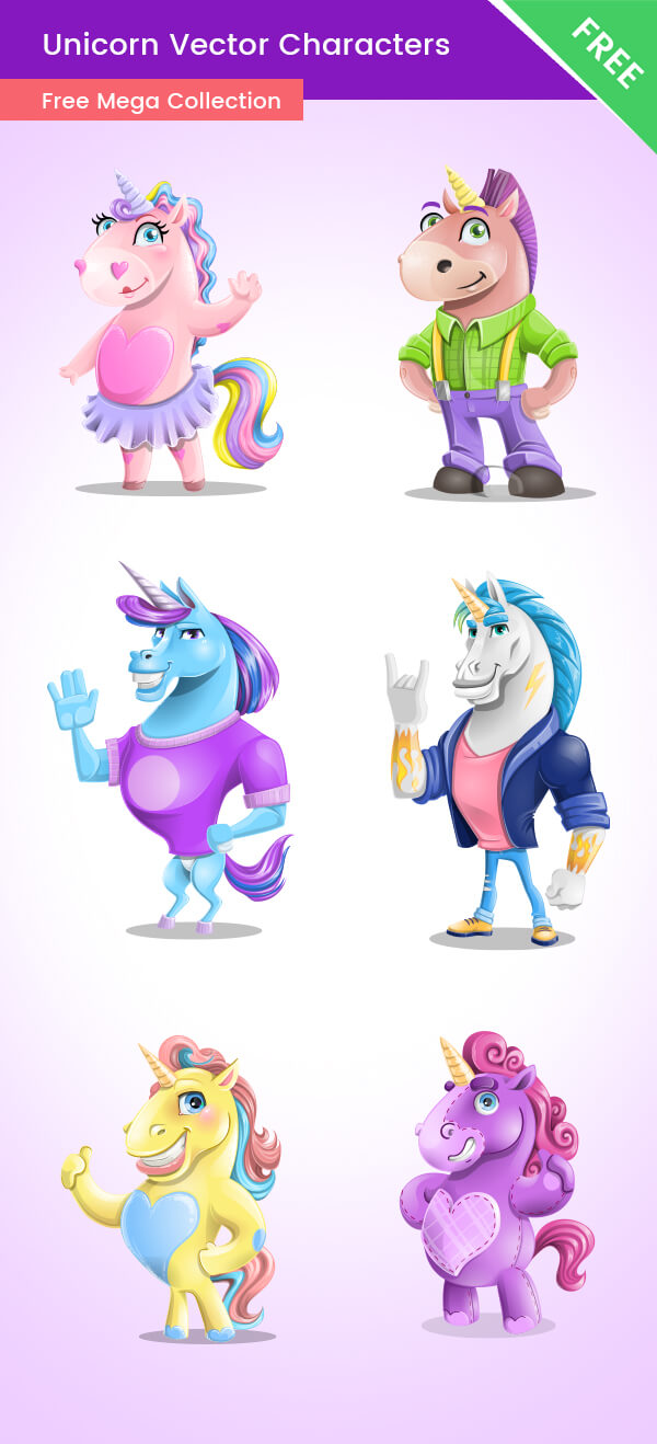 Vector Unicorn Cartoon Free Ultimate Set