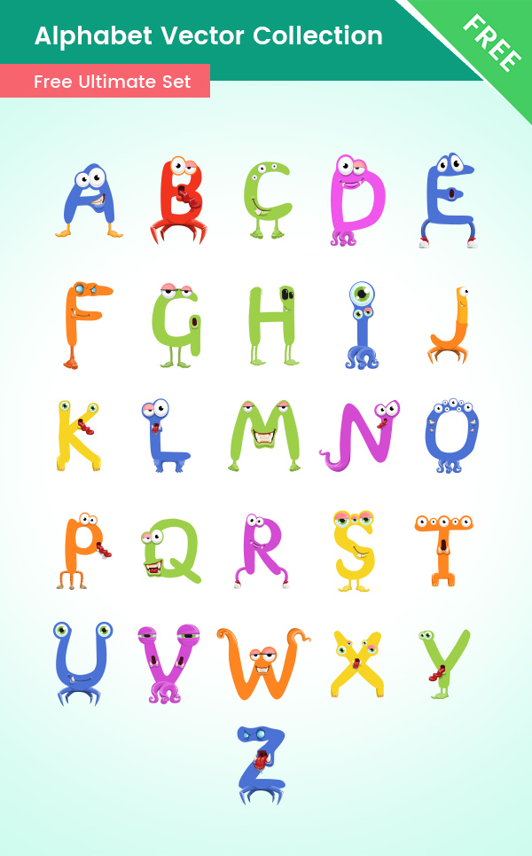Alphabet cartoon Characters Collection free, monsters, creatures