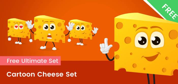 Cartoon Cheese Vector Set