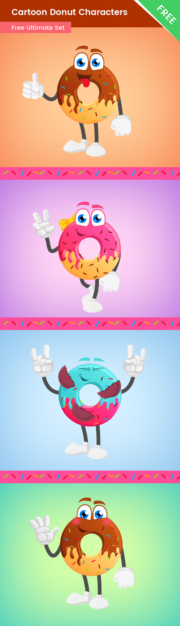 Cartoon Donut Vector Set
