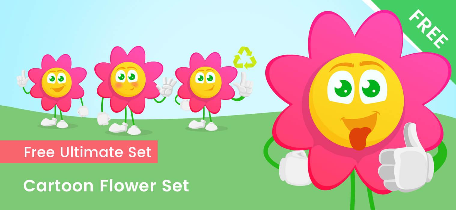 Cartoon Flower Vector Set