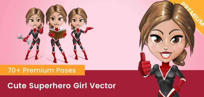 Cute Superhero Girl Vector
