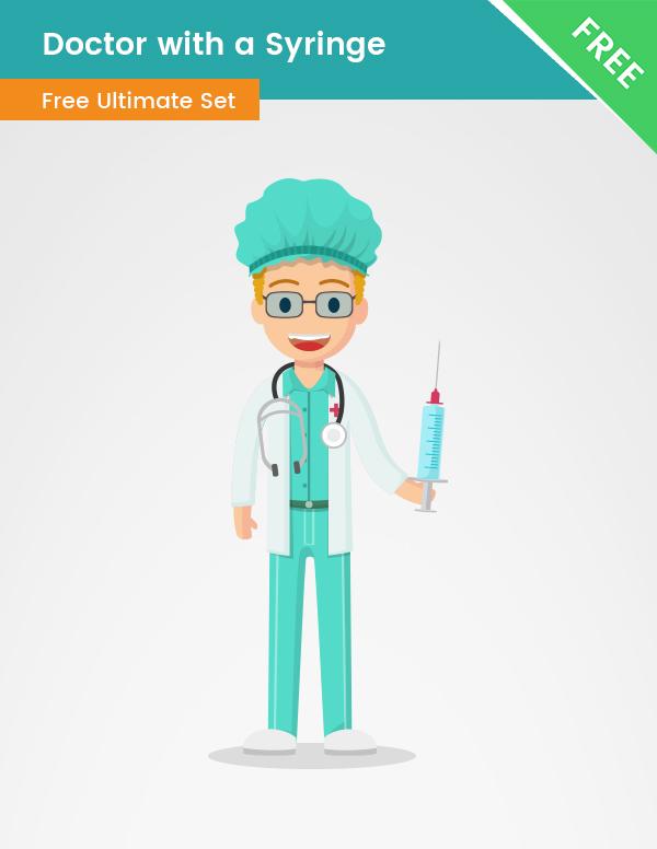 doctor PNG transparent, man, holding a syringe