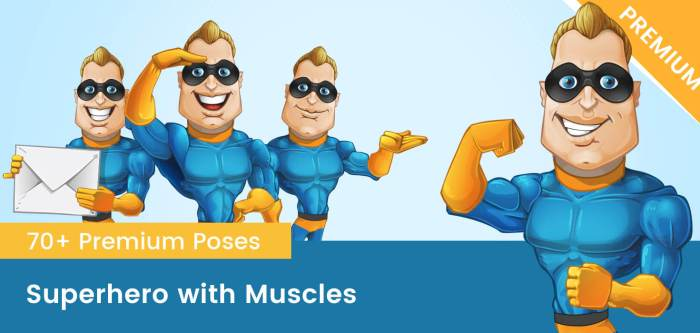 Fit Superhero Vector Cartoon
