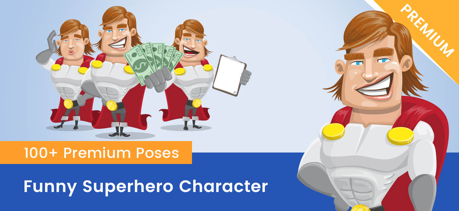 Funny Superhero Vector Cartoon