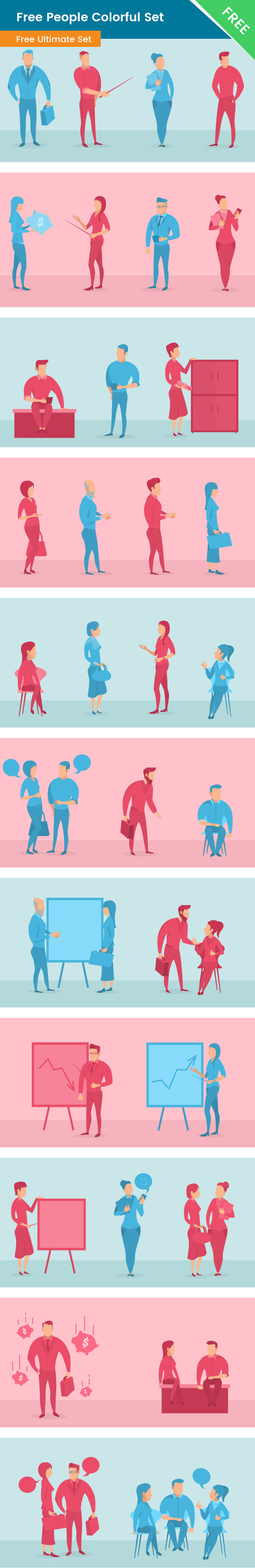 People vector Free colorful set