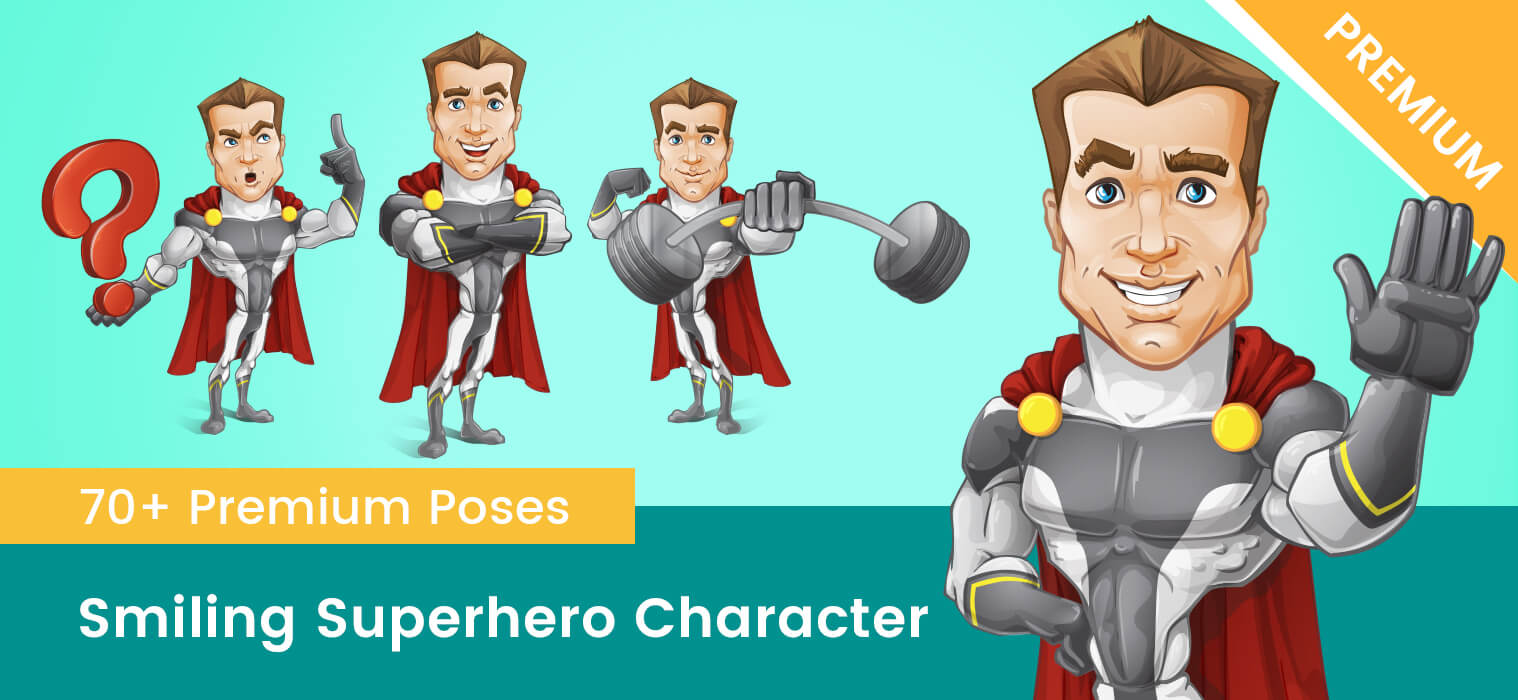 Smiling Superhero Vector Cartoon