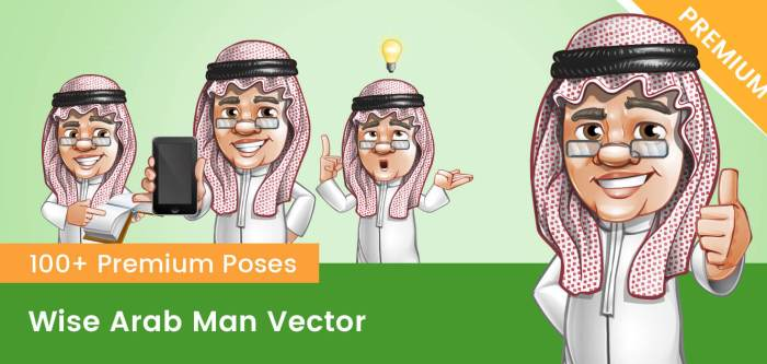 Wise Arab Man Vector Character