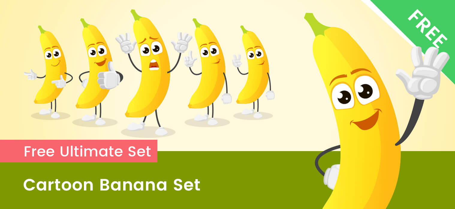 Cartoon Banana Vector Set