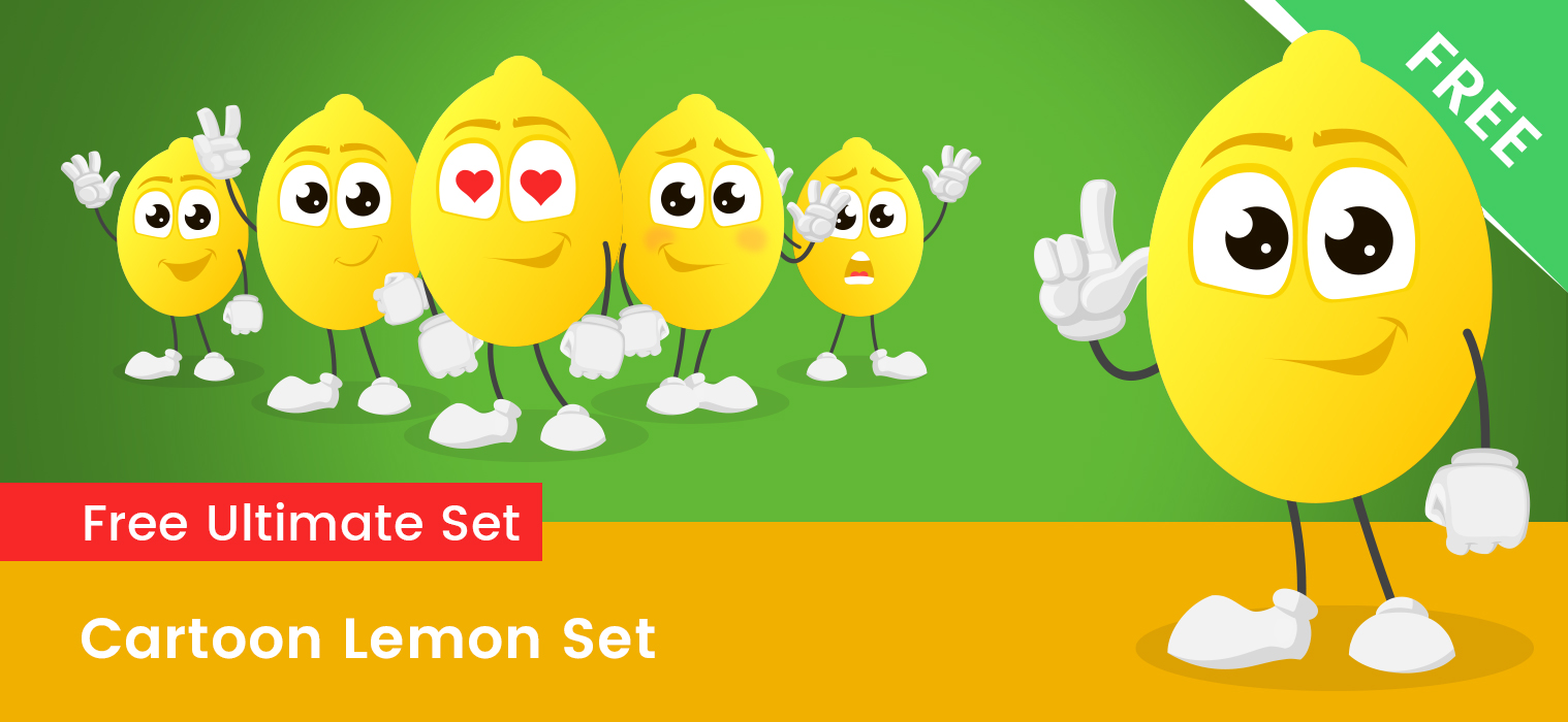 Cartoon Lemon Vector Set