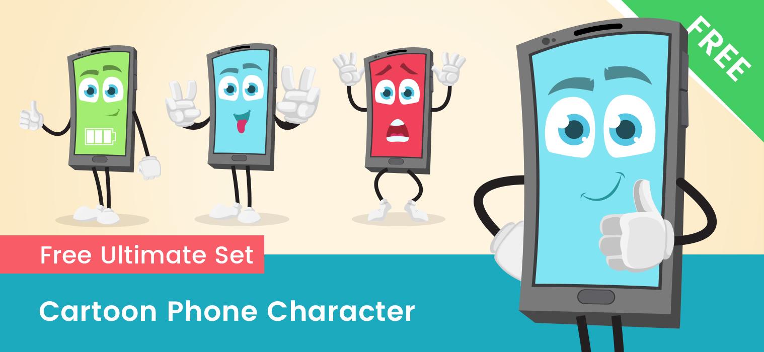 Cartoon Phone Character Set