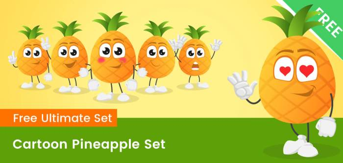 Cartoon Pineapple Vector Set