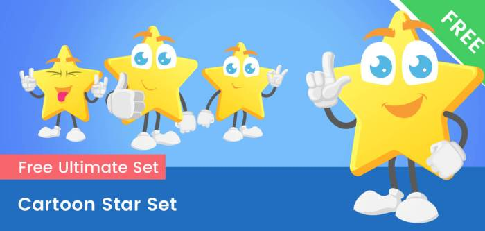 Cartoon Star Free Vector Set