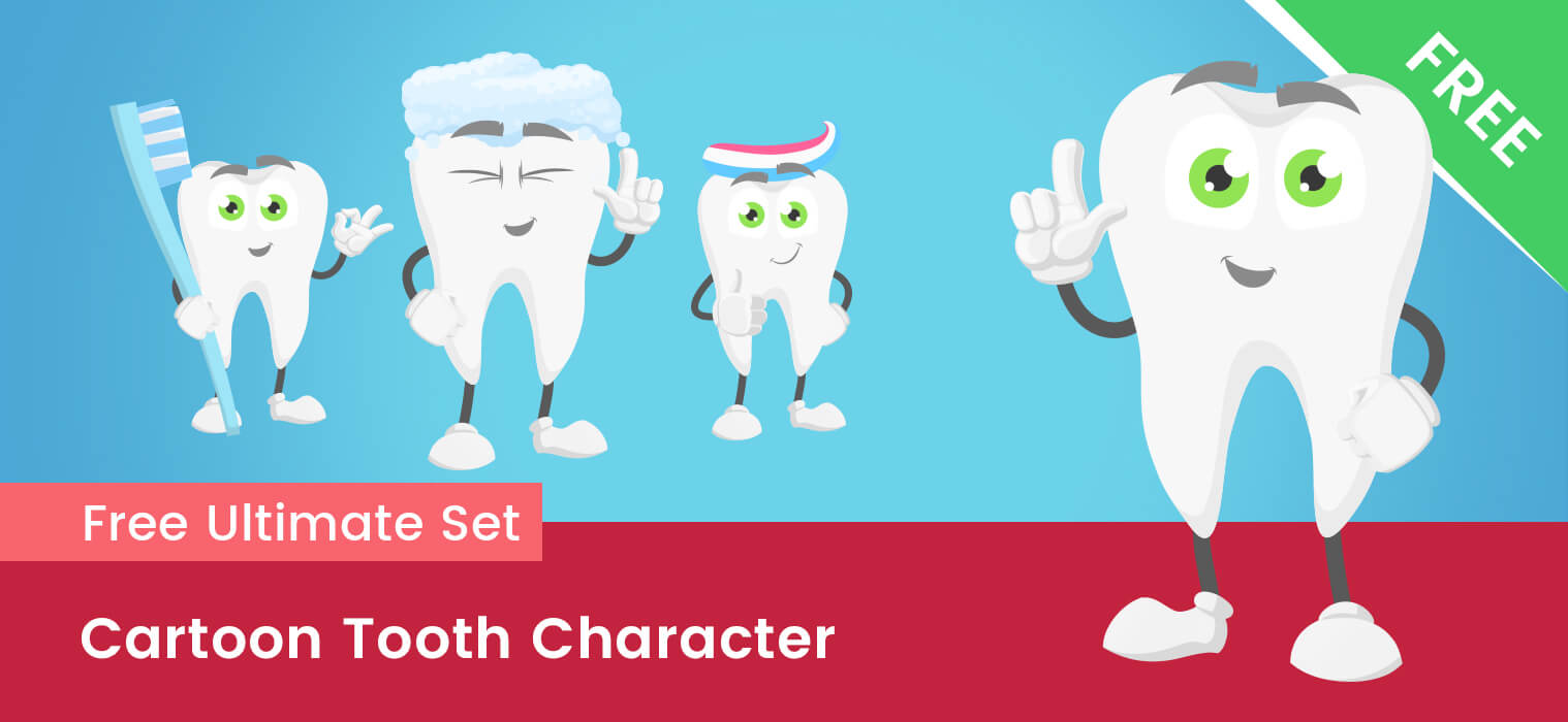 Cartoon Tooth Vector Set