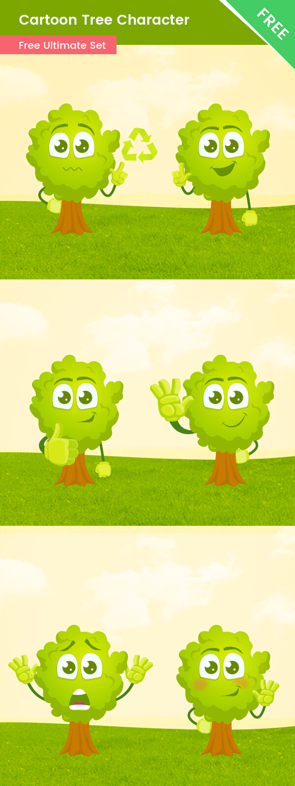 Cartoon Tree Vector Set, vector character