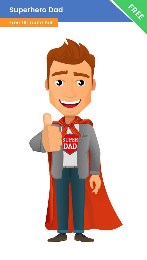 superhero dad clipart free