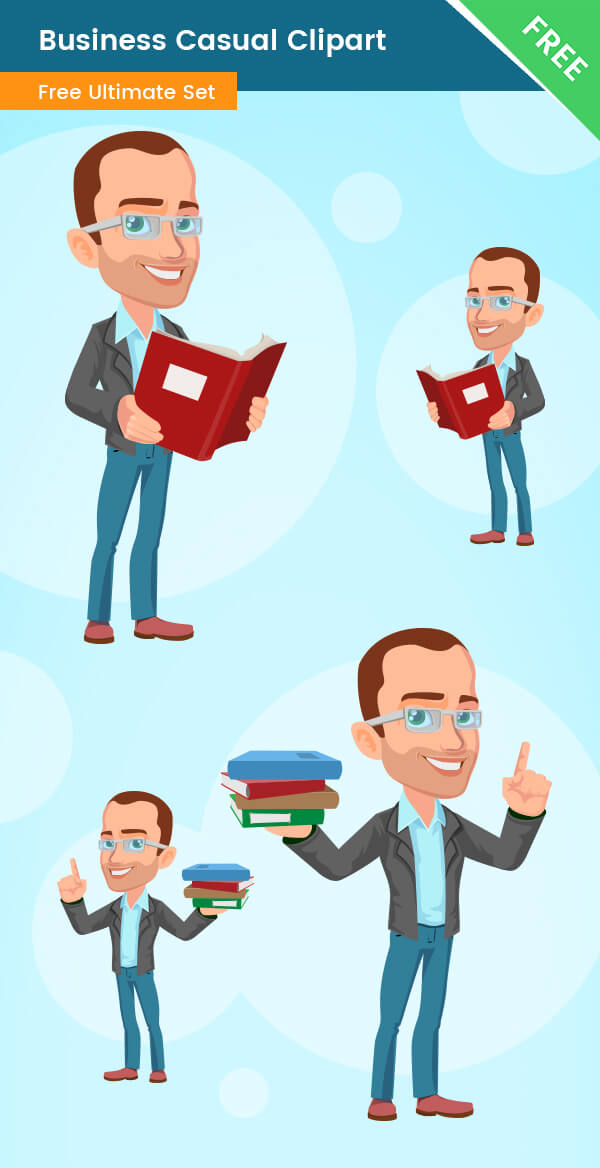Business Man Casual Clipart reading books holding smart intelligent glasses