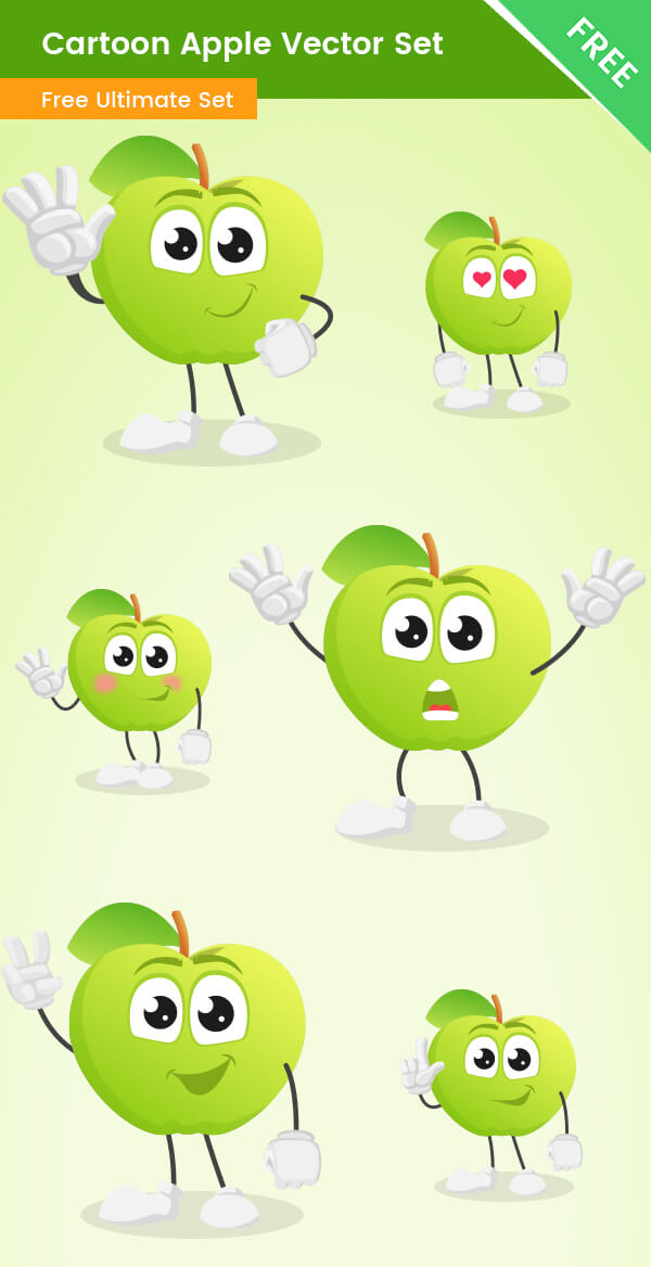 Cartoon Apple Vector Set Free Download