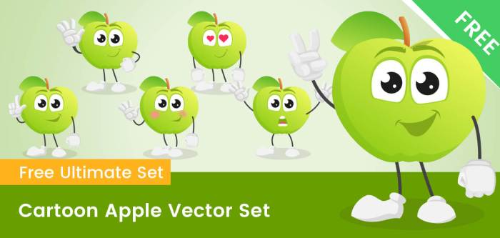 Cartoon Apple Vector Set