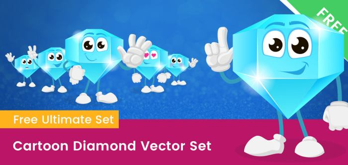 Cartoon Diamond Vector Set