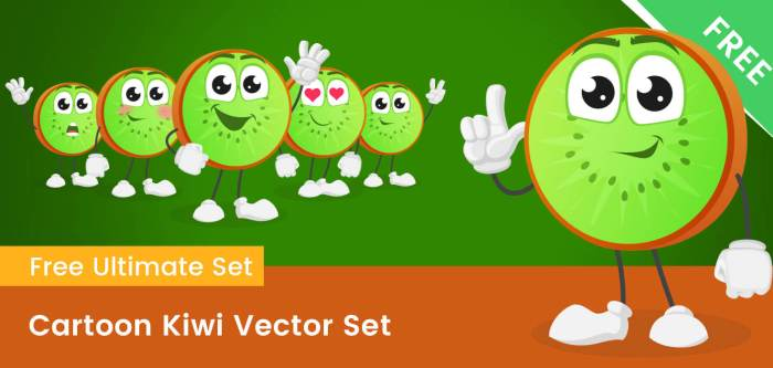 Cartoon Kiwi Vector Set