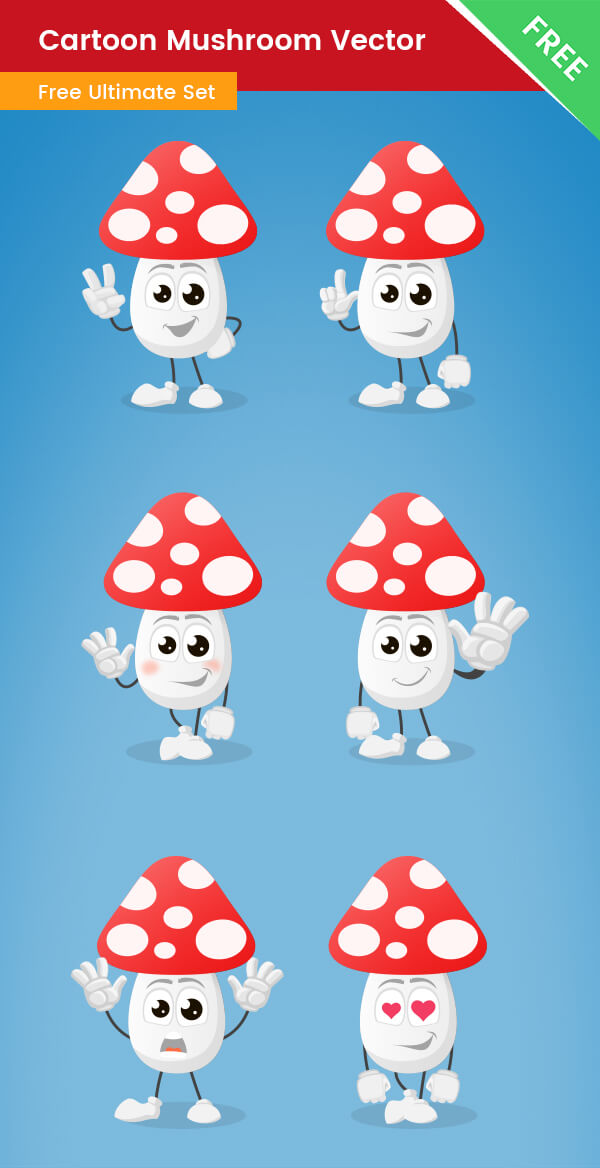 Cartoon Mushroom Vector Set