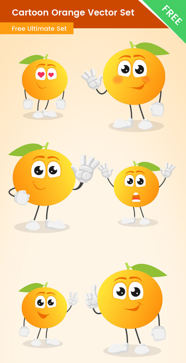 Cartoon Orange Vector Set