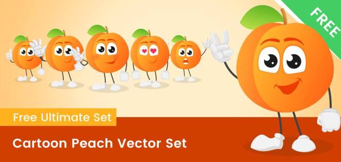 Cartoon Peach Vector Set