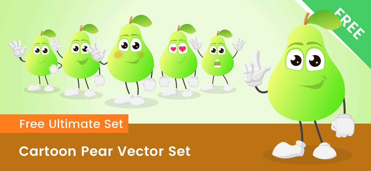 Cartoon Pear Vector Set