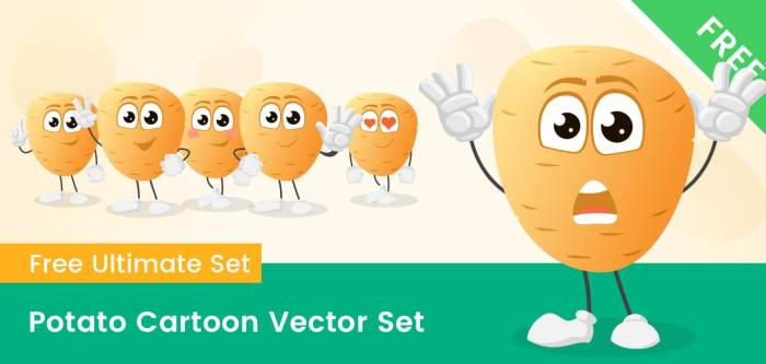 Potato Cartoon Vector Set