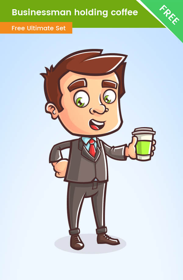 Business Cartoon Character holding coffee - VectorCharacters