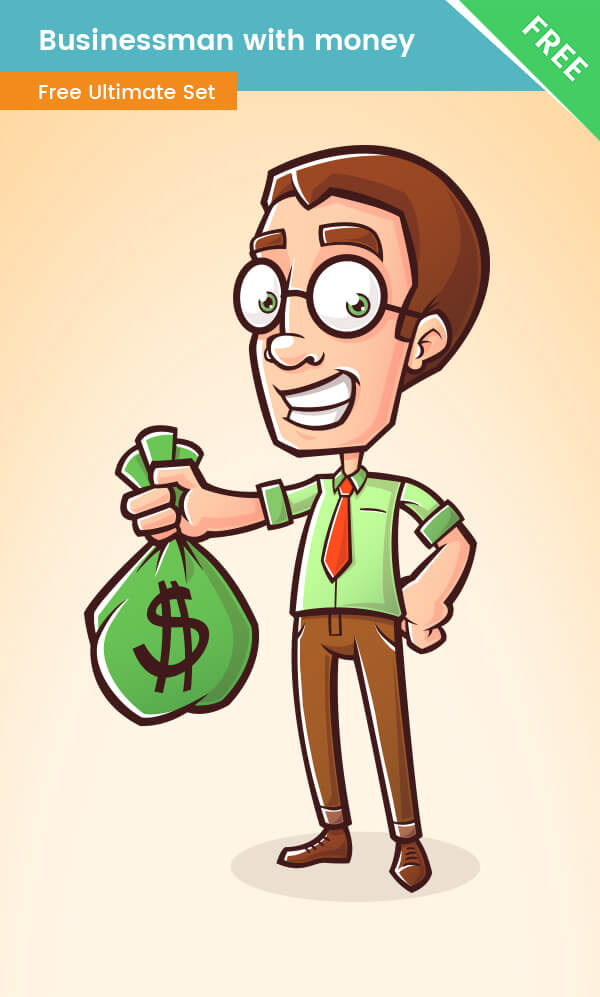 Business Cartoon Character with bag of money - Free VectorCharacters