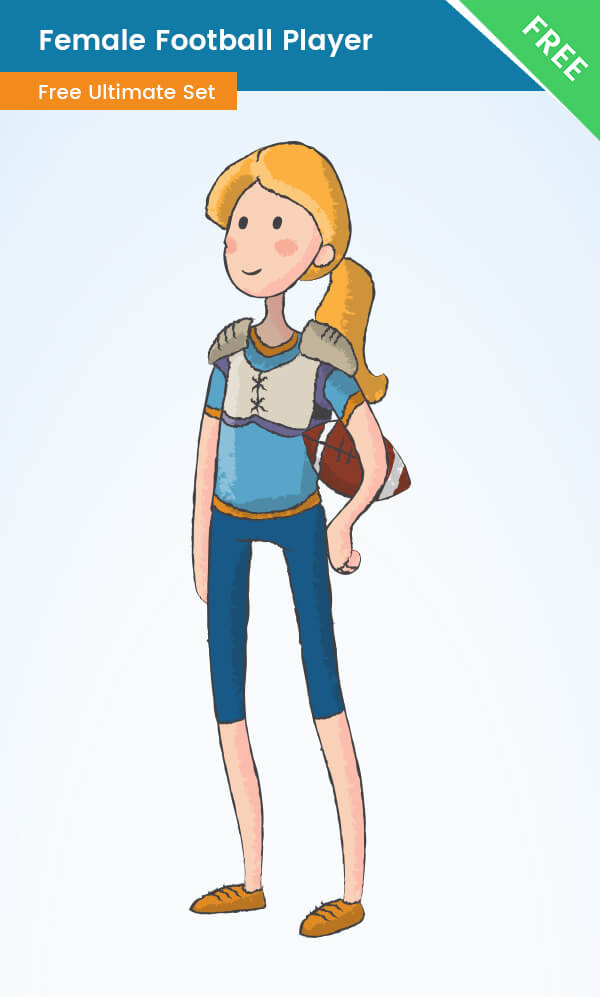 Female Cartoon Football Player - Free VectorCharacters