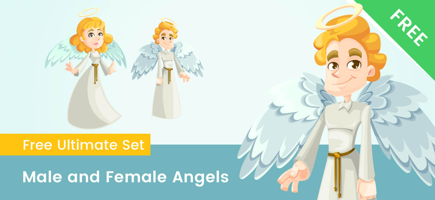 Male and Female Cartoon Angel Characters