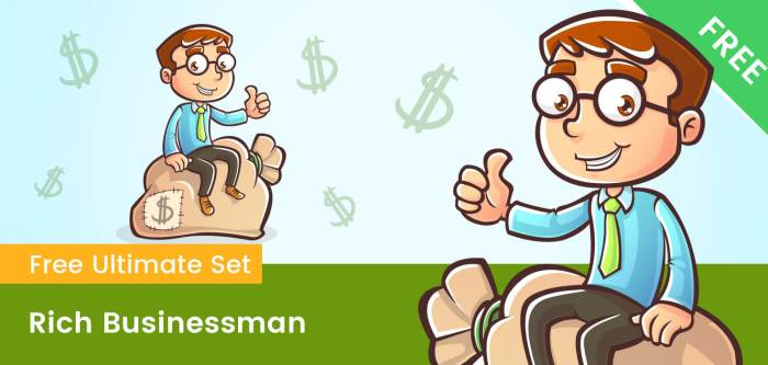 Rich Successful Business Cartoon Character