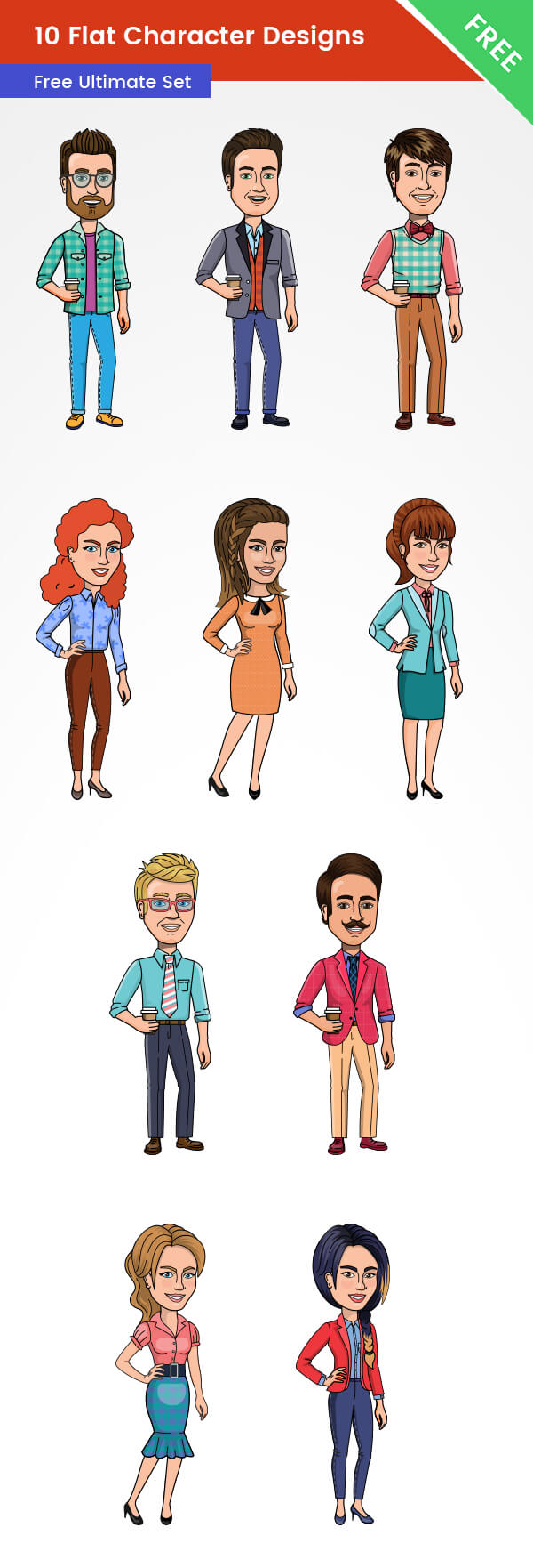 10 Free Flat character Designs