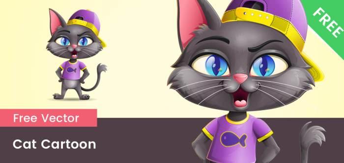 Free Black Cat  Vector Character