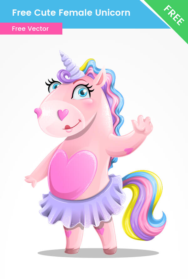 Free Cute Unicorn Girl Vector Character