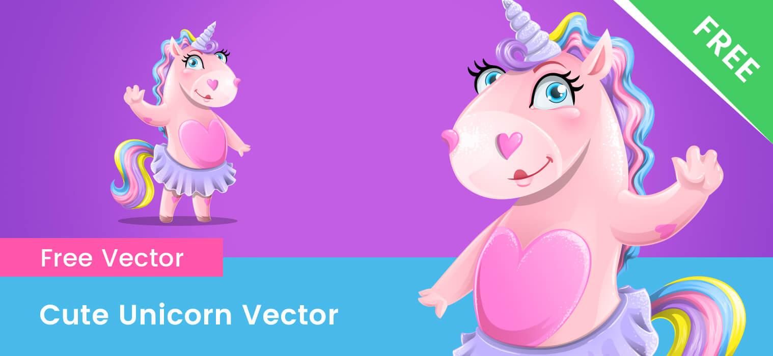 Free Cute Unicorn Girl Vector Character