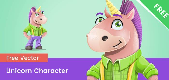 Free Fun Unicorn Vector Character