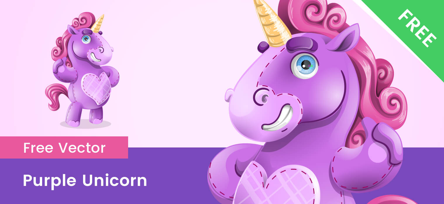 Free Purple Unicorn Vector Character