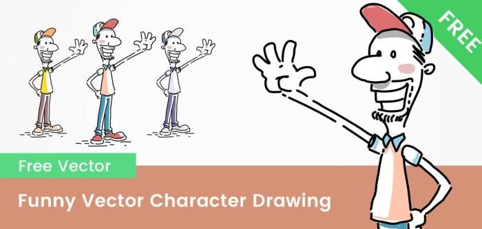 Free Funny Cartoon Character Drawing