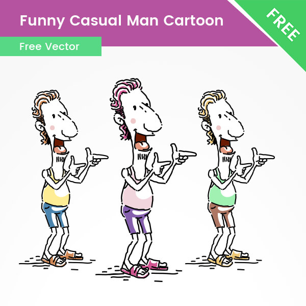 Free Funny Casual Man Cartoon Illustration