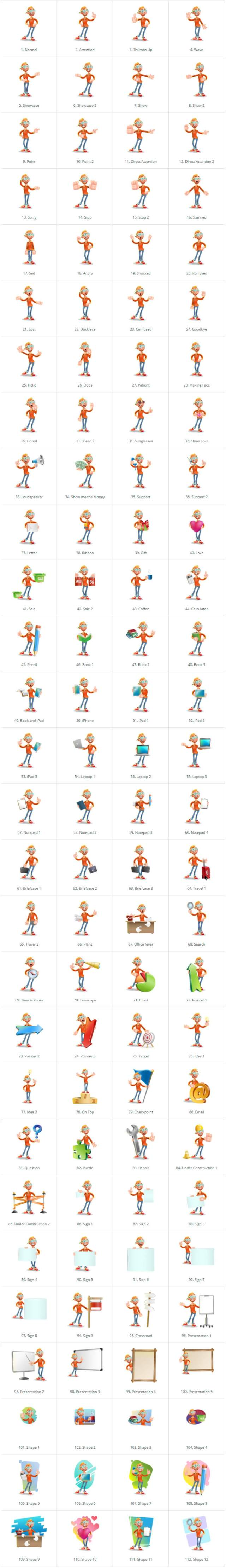 Casual Man with Glasses 3D Vector Cartoon Character