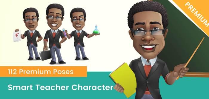 Smart African-American Teacher Cartoon Vector Character