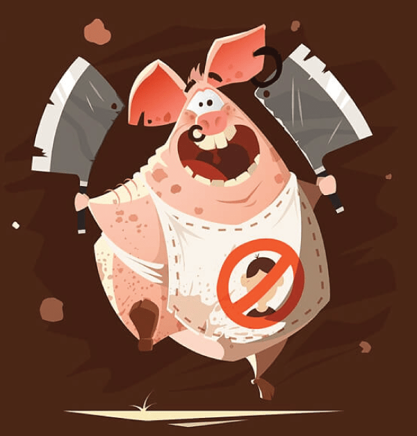 Really Good Character Design - Funny Pig Butcher Cartoon Character Example